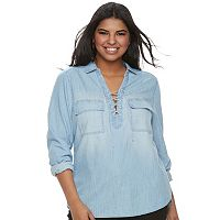 Juniors' Plus Size SO® Lace-Up Chambray Shirt