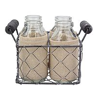 Stonebriar Collection Decorative Milk Bottle & Farmhouse Basket 5-piece Set