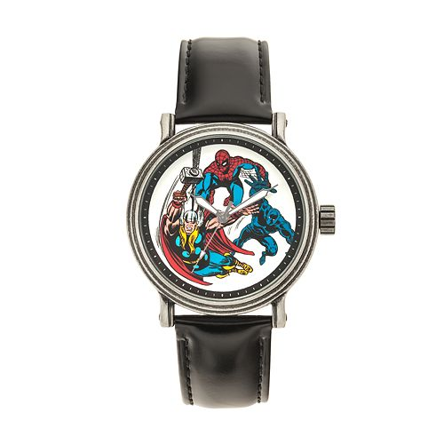 Marvel Comics Spider-Man, Thor & Black Panther Men's Leather Watch