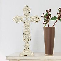 Stonebriar Collection Weathered White Cross Table Decor