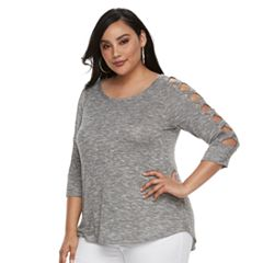 Plus Size Jennifer Lopez Crisscross Sleeve Top