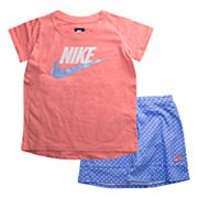 Girls  4-6x Nike Logo Tee & Polka-Dot Skort