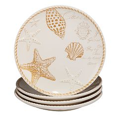 Certified International Coastal Discoveries 4 pc Dinner Plate Set