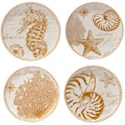 Certified International Coastal Discoveries 4 pc Dessert Plate Set