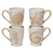Certified International Coastal Discoveries 4 pc Mug Set