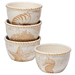 Certified International Coastal Discoveries 4 pc Ice Cream Bowl Set