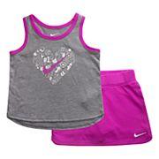 Baby Girl Nike Graphic Heart Tank Top & Skort Set