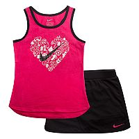 Girls 4-6x Nike Metallic Graphic Tank Top & Black Skort Set