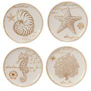 Certified International Coastal Discoveries 4 pc Canape Plate Set