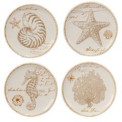 Certified International Coastal Discoveries 4-pc. Canape Plate Set