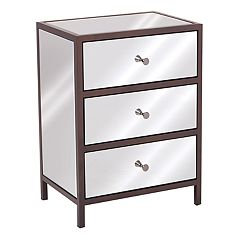 OSP Designs Marquis 3-Drawer Mirrored End Table