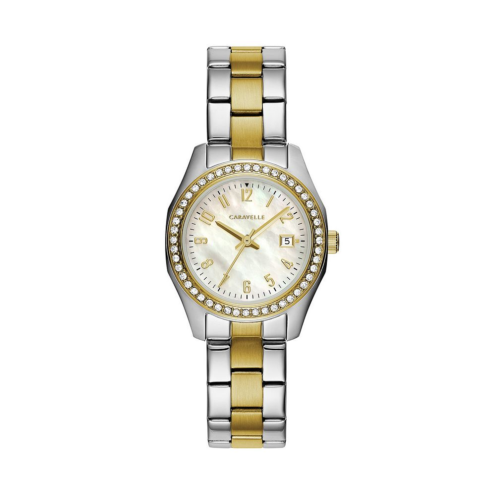 Caravelle by Bulova Women's Crystal Two Tone Stainless Steel Watch - 45M113