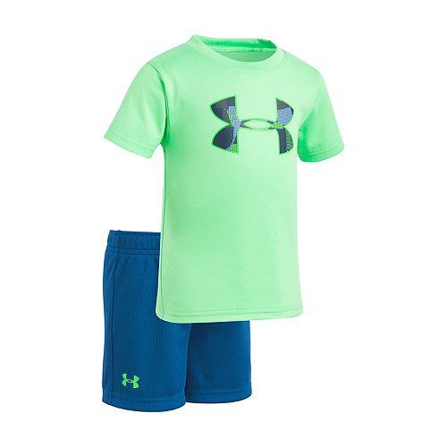 Baby Boy Under Armour Logo Green & Blue Graphic Tee & Shorts Set
