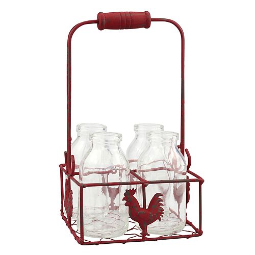 Stonebriar Collection Decorative Milk Bottle & Rooster Basket 5-piece Set