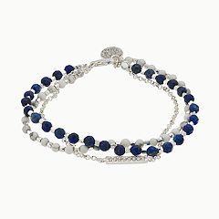 love this life Lapis Lazuli & White Agate 3-Strand Bracelet