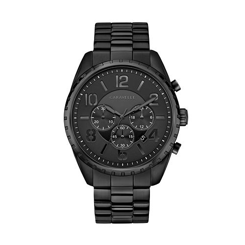 Caravelle Men's Black Ion-Plated Stainless Steel Chronograph Watch - 45B150