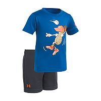 Baby Boy Under Armour Peanut Outfielder Baseball Graphic Tee & Shorts Set