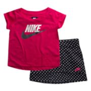 Baby Girl Nike Futura Graphic Tee & Polka-Dot Skort Set
