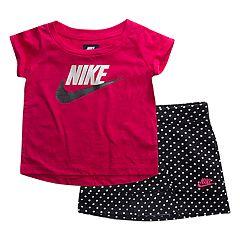 Baby Girl Nike Futura Graphic Tee & Polka-Dot Skort Set
