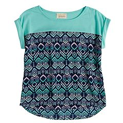 Girls 7-16 Rewind Rolled Cuff Sleeves Top