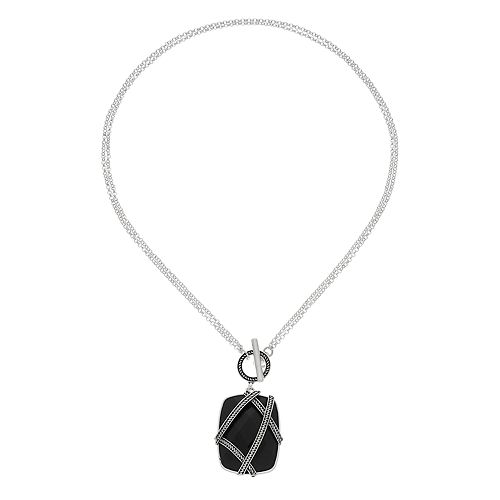 Napier Banded Stone Toggle Necklace