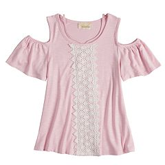 Girls 7-16 Rewind Crochet Front Cold Shoulder Top