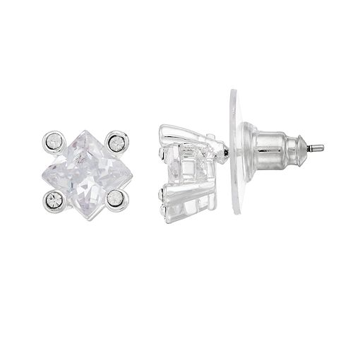 Napier Cubic Zirconia Nickel Free Square Stud Earrings