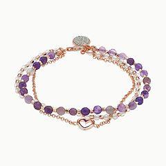 love this life Amethyst 3-Strand Heart Bracelet