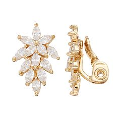 Napier Cubic Zirconia Cascade Nickel Free Clip-On Earrings