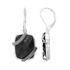 Napier Banded Rectangle Drop Earrings