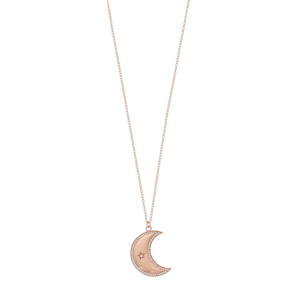 14k Rose Gold Over Silver Cubic Zirconia Crescent Moon Pendant Necklace