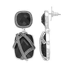 Napier Banded Double Drop Earrings