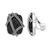 Napier Banded Rectangle Clip-On Earrings