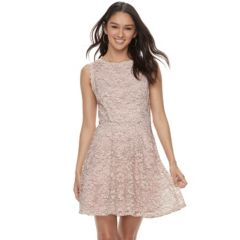 Juniors Lily Rose Floral Lace Skater Dress