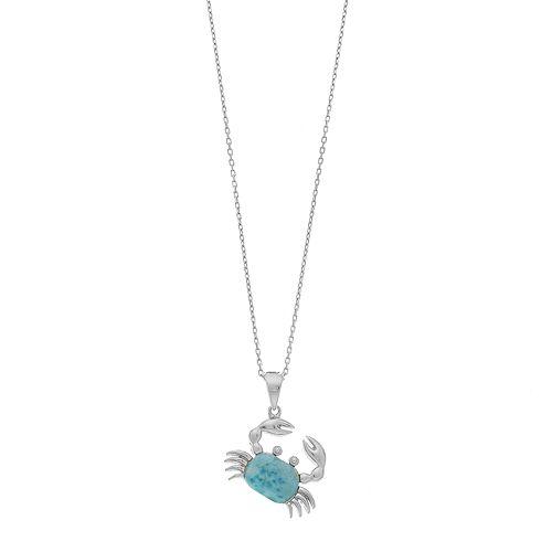 Sterling Silver Larimar Crab Pendant Necklace