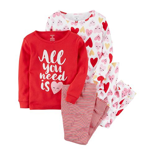 """Girls 4-12 Carter's """"All You Need is Heart"""" Tops & Bottoms Pajama Set"""