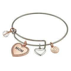 love this life Two Tone 'Mom' Charm Bangle Bracelet