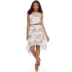 Juniors' Lily Rose Belted Floral Handkerchief Skater Dress