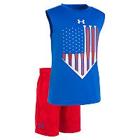 Toddler Boy Under Armour USA Baseball Diamond Graphic Tank Top & Striped Shorts Set