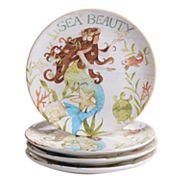 Certified International Sea Beauty 4 pc Dessert Plate Set