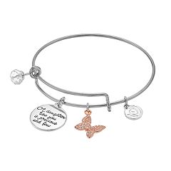 love this life Two Tone Daughter Charm Bangle Bracelet