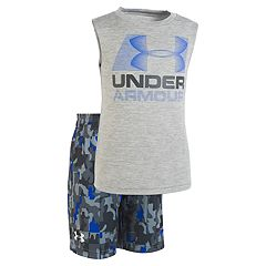 Toddler Boy Under Armour Logo Graphic Tank Top & Camouflage Shorts Set