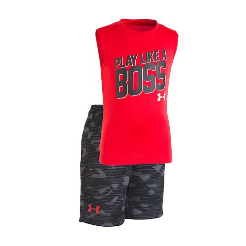 """Toddler Boy Under Armour """"Play Like A Boss"""" Muscle Tee & Shorts Set"""