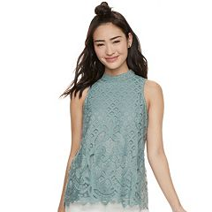 Juniors' Rewind Crochet Lace Tank