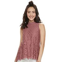 Juniors' Rewind Crochet Lace Tank
