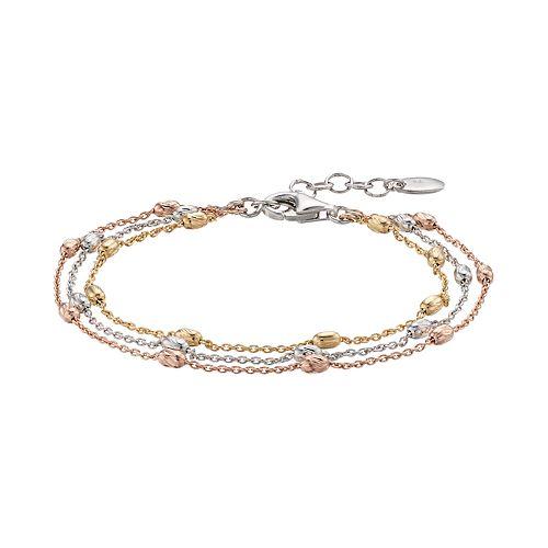 Tri Tone Sterling Silver Multi Strand Beaded Bracelet