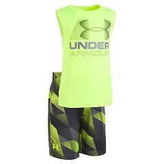 Toddler Boy Under Armour Logo Graphic Tank Top & Geometric Shorts Set