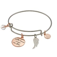 love this life Two Tone 'With Brave Wings She Flies' Charm Bangle Bracelet