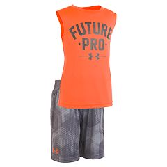Toddler Boy Under Armour  'Future Pro' Graphic Tank Top & Geometric Shorts Set