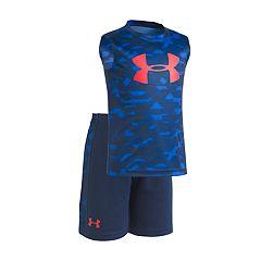 Toddler Boy Under Armour Edge Camouflaged Logo Muscle Tee & Shorts Set